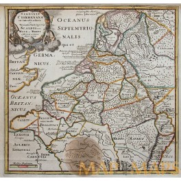 1729 Historical map of Holland, Roman Emperors, Cluver.
