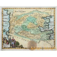 Macedoniae et Thessaliae Greece old map Cluverius 1697