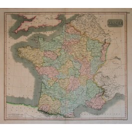 1814 Large antique map France by Thomson.