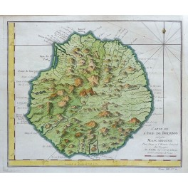 Reunion Island Bourbon Indian Ocean old map Bellin 1750