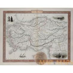 ASIA MINOR ANTIQUE MAP OTTOMAN EMPIRE CYPRUS Illustrated Atlas TALLIS 1851