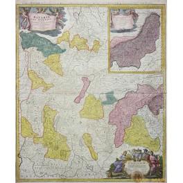 Upper Bavaria Germany old map Homan Heirs 1730