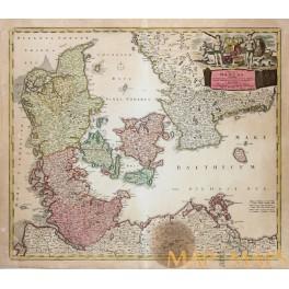 DENMARK REGNI DANIAE IN QUO FUNT DUCATUS HOLSATIA ANTIQUE MAP HOMANN HEIRS 1730