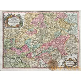 1744 Antique map of Germany Hasso-Cassel by Lotter/Seutter