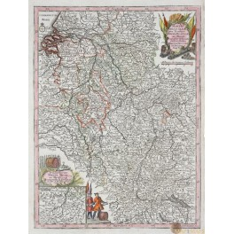1744 Antique map of Germany Rheni Mosae by Lotter/Seutter