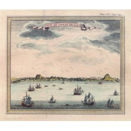India Ceylon Sri Lanca view of Galle Bellin print 1750