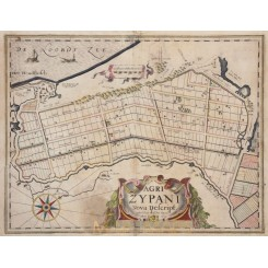 RARE ANTIQUE MAP OF ZYPE, PETTEN, HOLLAND, AGRI ZYPANI, BY KAERIUS 1625
