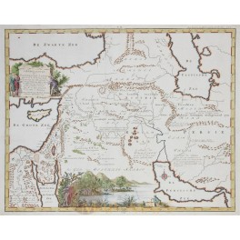 Middle East Jewish Holy Land Bible map Beautiful engraving by Bachiene 1748