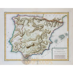 Spain Portugal physical geography map by Mentelle 1767