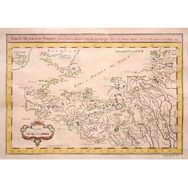 Tibet Himalaya China old antique map Bellin 1750
