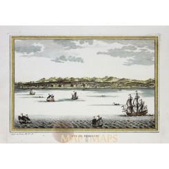 SULAWESI - VUE DE SAMBOUPO - INDONESIA – LARGE ANTIQUE ENGRAVING - BELLIN 1753