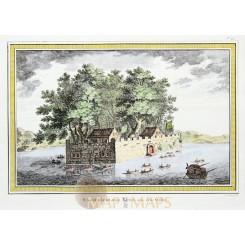 WASSERSCHLOSS KULU Old print Fortress Kulu China BELLIN 1764
