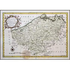 THE OLD NETHERLANDS, BELGIUM FLANDERS OLD ATLAS MAP BY ROLLOS MAP 1760