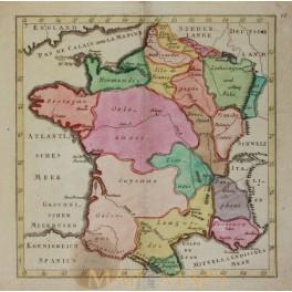 1790 France map by Weigel Atlas Cosmographiae