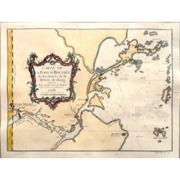 Chiang River Delta, Fujian China old map Bellin 1750