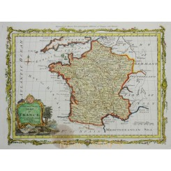 1785 Antique copperplate map France, by Bowen, Moore.