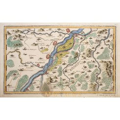 DILLINGEN ON THE DANUBE RIVER ORIGINAL ANTIQUE MAP BY BODENEHR 1720