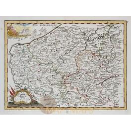Flanders Hainaut Belgium antique map by Le Rouge 1756.