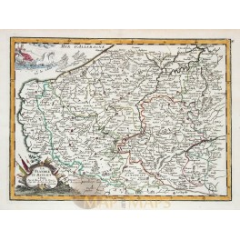 Flanders Belgium, old antique map by le Rouge 1743