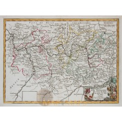 Rhine and Main river course France Germany old historical map Le Rouge 1757