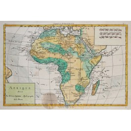 Africa map, Oceans wind and water streams antique engraving by Bonne 1780