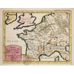 1743 antique map of Gallia/France Roman time/Cellarius
