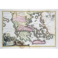 Greece Graeciae Antiquae history old map Cellarius 1731