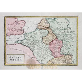 Low Countries in ancient times old map Cellarius 1796