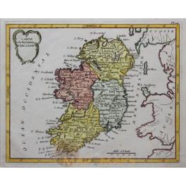 Original antique map of Ireland by De La Porte 1786