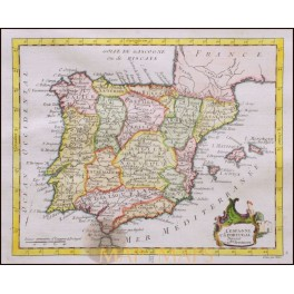 Spain, Portugal, Original antique map by De LaPorte 1776