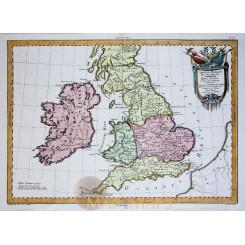 England Ireland Old map Britannia L'Angleterre Philippe 1787