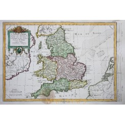 England and Wales Antique map L'ANGLETERRE by Philippe de Pretot 1787