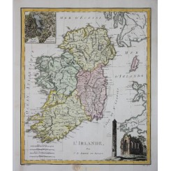 Ireland Lakes of Killarney Antique map L'IRLANDE Barbie du Bocage c.1820