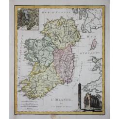 Ireland Old Antique Map L' Irlande Barbie du Bocage 1783