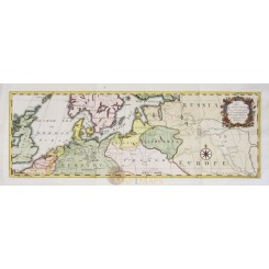 North Europe routs from London to Russia Old map Hanway 1754