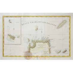 Canada old map Queen Charlottes Islands Hogg 1773
