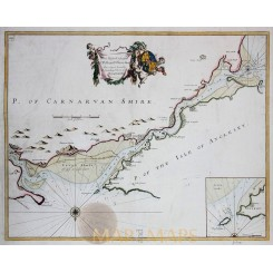 Anglesey Isle, Carnarvan Shire ,antique map Collins 1760