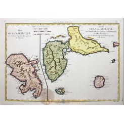 Antique map French Antilles, The Guadeloupe and Martinique Islands, Bonne 1787