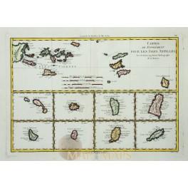 ANTILLES - VIRGIN ISLANDS – CARIBBEAN - OLD MAP - BONNE 1787
