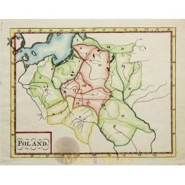 1730 Poland in provinces, antique atlas map Anonymous