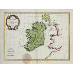 Carte D' Irlande old map Ireland by Rigobert Bonne 1771