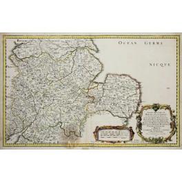 England Oxford Chester Cambridge old map Sanson 1654