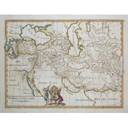 Egypt with Asia Persia Armenia old map Le Rouge 1743