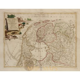 North of Netherlands Holland antique map by Zatta 1778