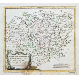 French departments, Berri, Nivernois antique map by R. Vaugondy 1778