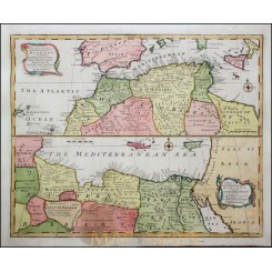 Barbary North Africa Madeira Canary Islands Old Etching by Bowen 1747