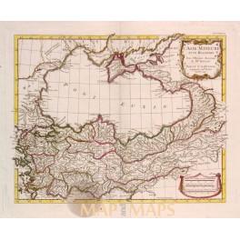 Turkey, Armenia, Ukraine, antique map d'Anville 1726