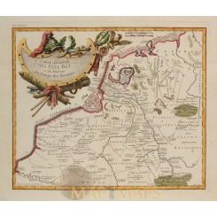 ANTIQUE MAP LOW CONTRIES IN ROMAN EMPIRE, BY PHILIPPE DE PRETOT 1787