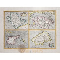 Channel Islands Old Map Anglesey Wight Mercator 1638