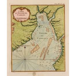 Gulf of Cambay India Original antique map Bellin 1773